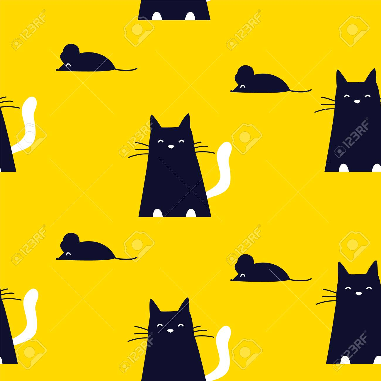Cute Pattern With Black Cat And Mouse On Yellow Background Ornament Royalty Free Cliparts Vectors And Stock Illustration Image 102668644
