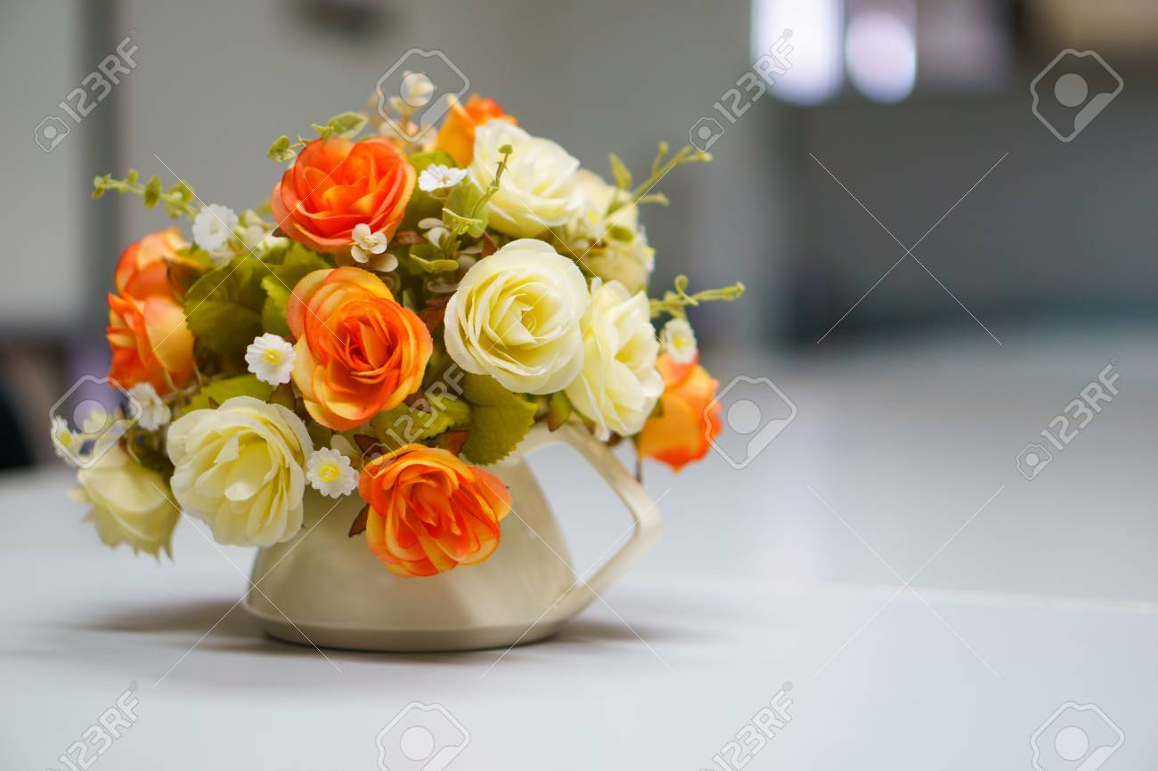 Fake Or Mock Up Bouquet Flowers In A Vase On The Table In Meeting ...