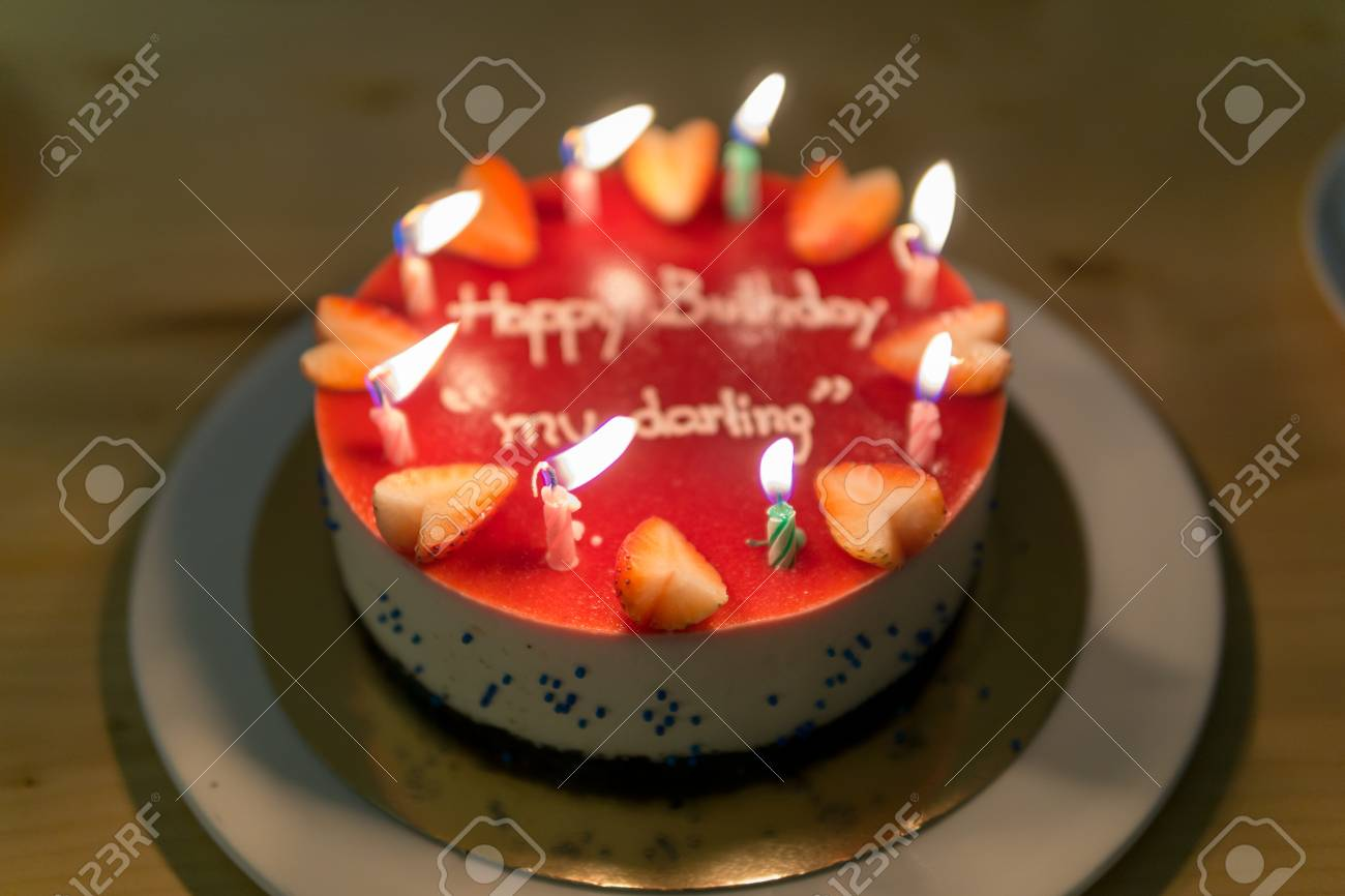 Swell Happy Birth Day Blueberry Cheese Cake For Lover Or Darling With Funny Birthday Cards Online Alyptdamsfinfo