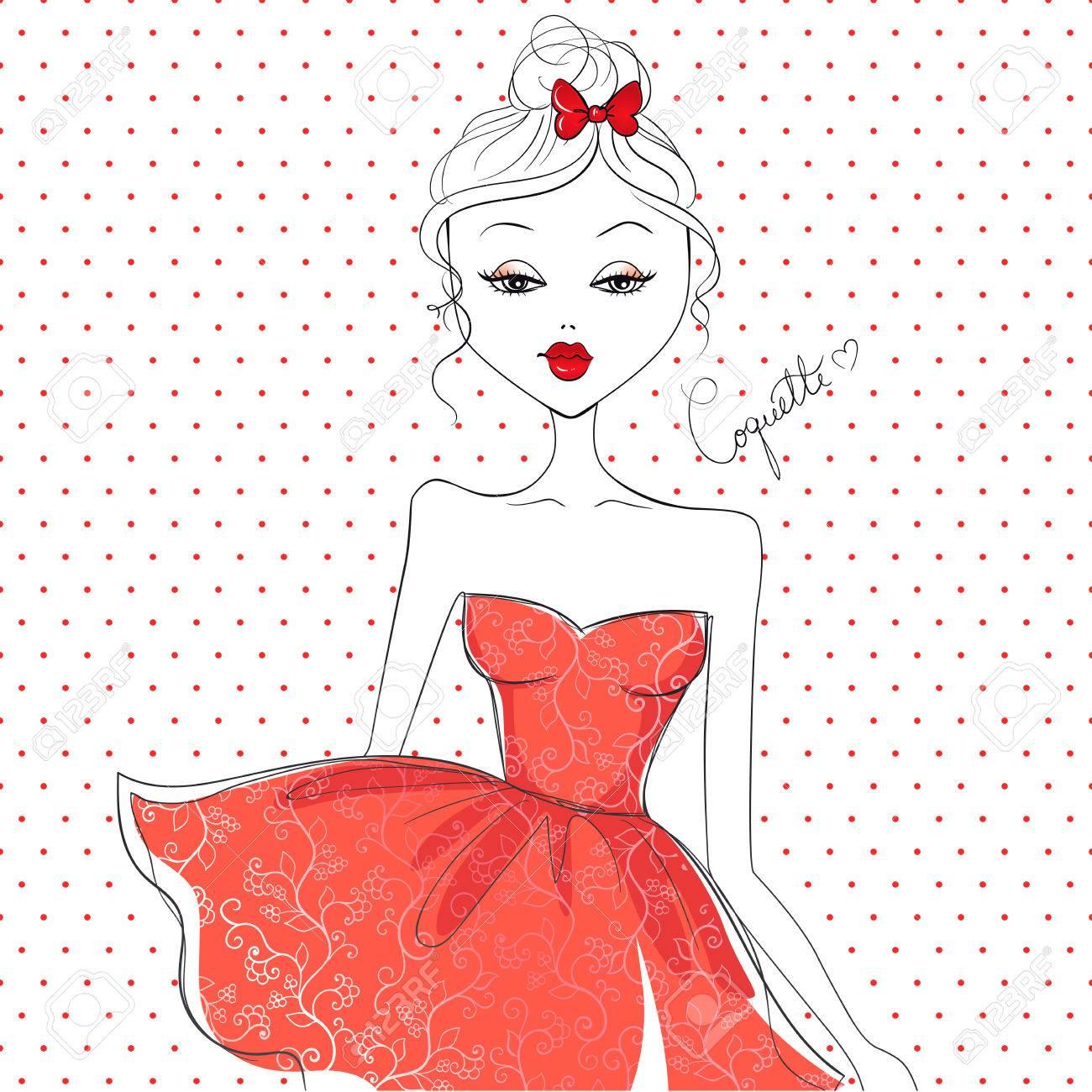 かわいい女の子 ベクトル少女 漫画イラスト 美しい少女 ファッションのスケッチ のイラスト素材 ベクタ Image