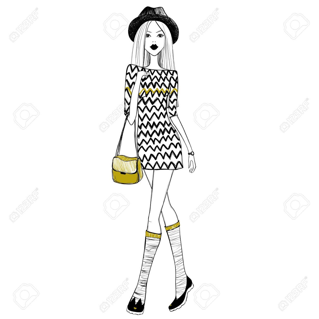 3261aea61 Sketch Girl. Sketch Model. Fashion Girl. Stylish Woman. Female ...