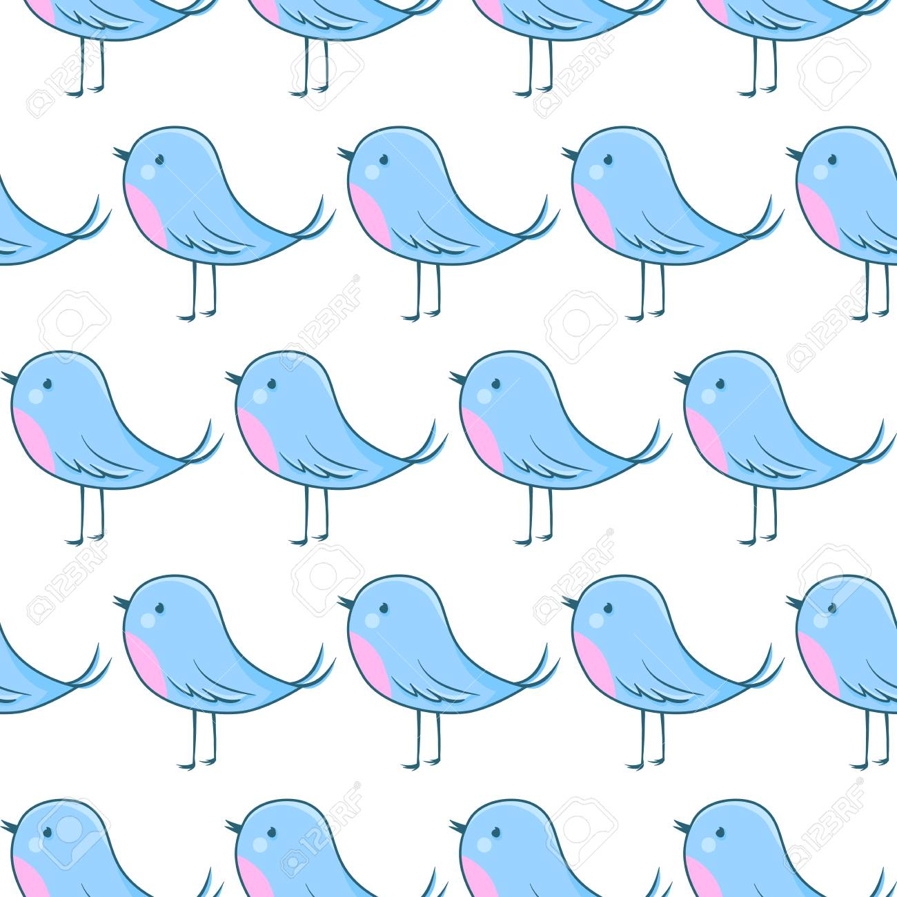 Seamless Pattern With Cartoon Birds Kids Background For Wrapping