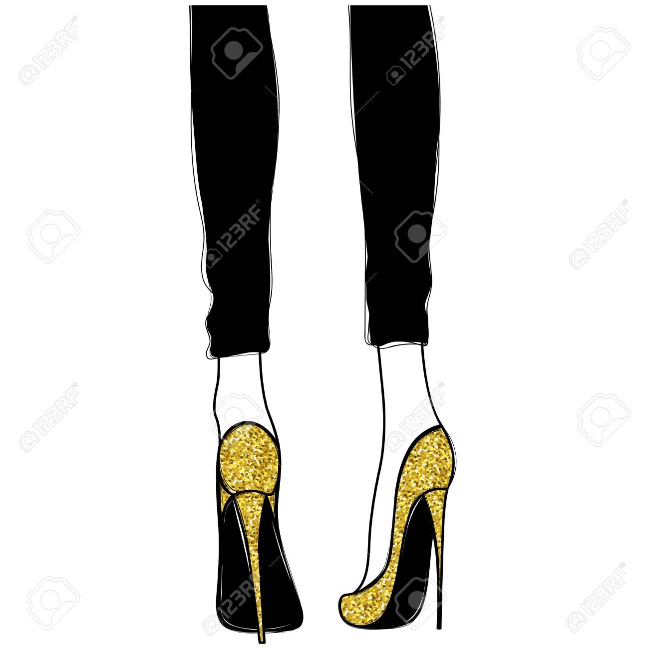 Vector Girls In Gold High Heels