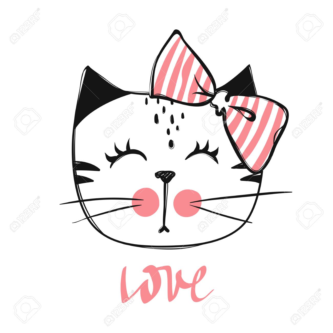 Cute Cat Vector Design Girly Kittens Fashion Cat S Face Animal Royalty Free Cliparts Vectors And Stock Illustration Image 110300088