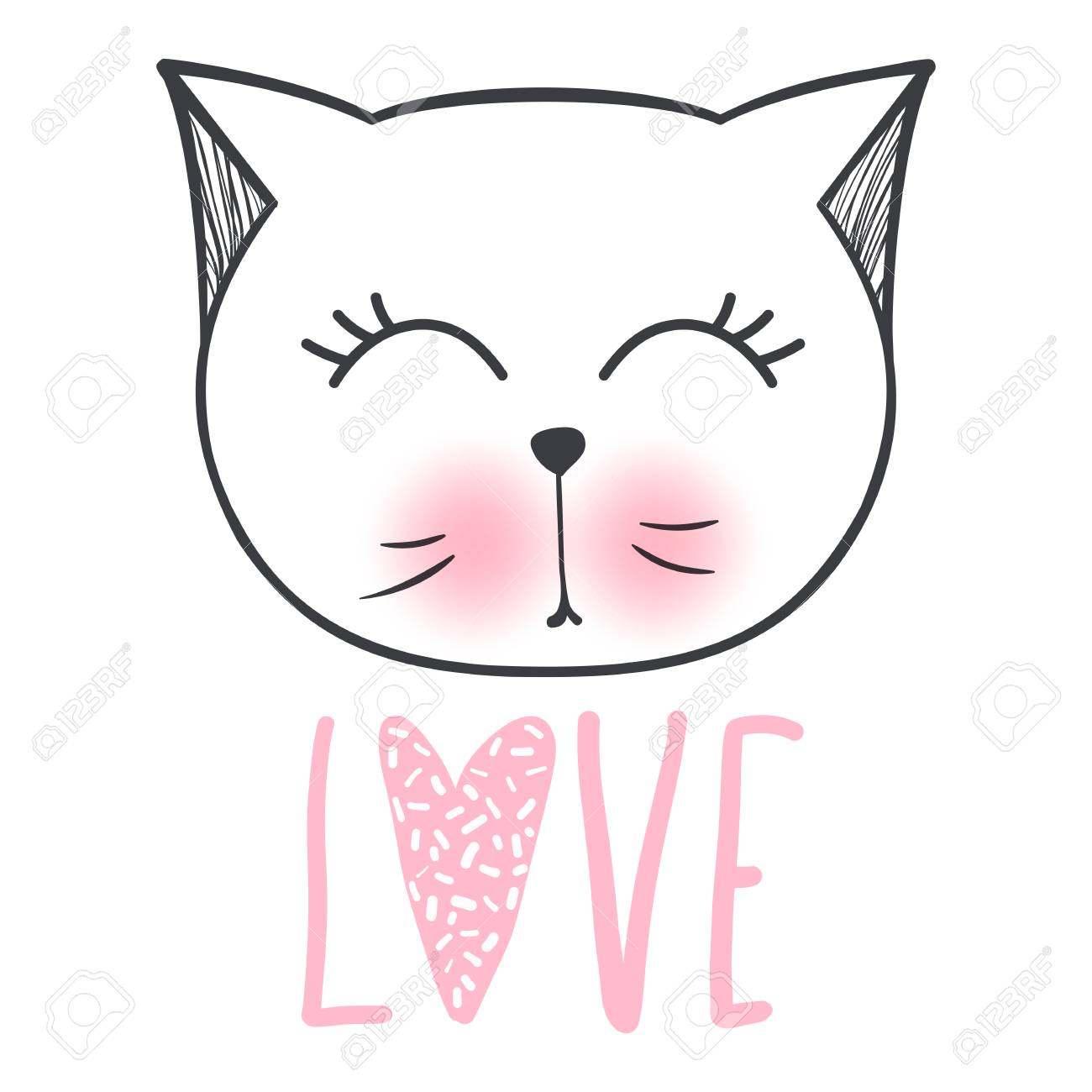 Cute Cat Vector Design Girly Kittens Fashion Cat S Face Animal
