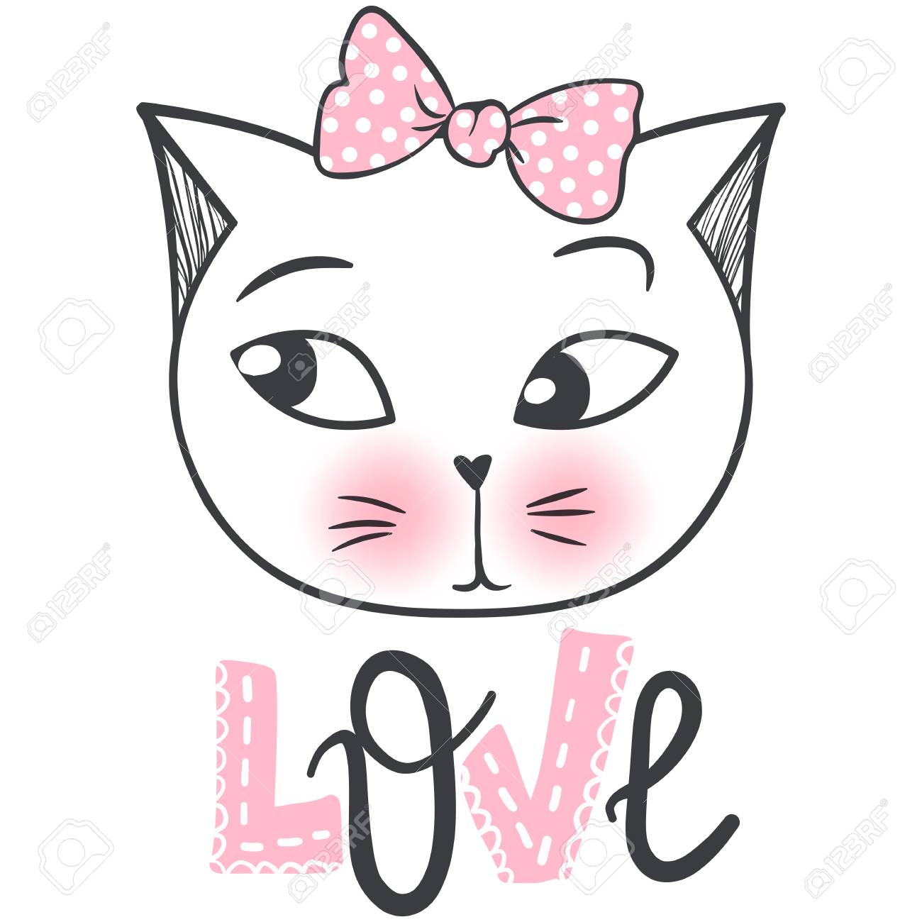 Cute Cat Vector Design Girly Kittens Fashion Cat S Face Animal Royalty Free Cliparts Vectors And Stock Illustration Image 110214345
