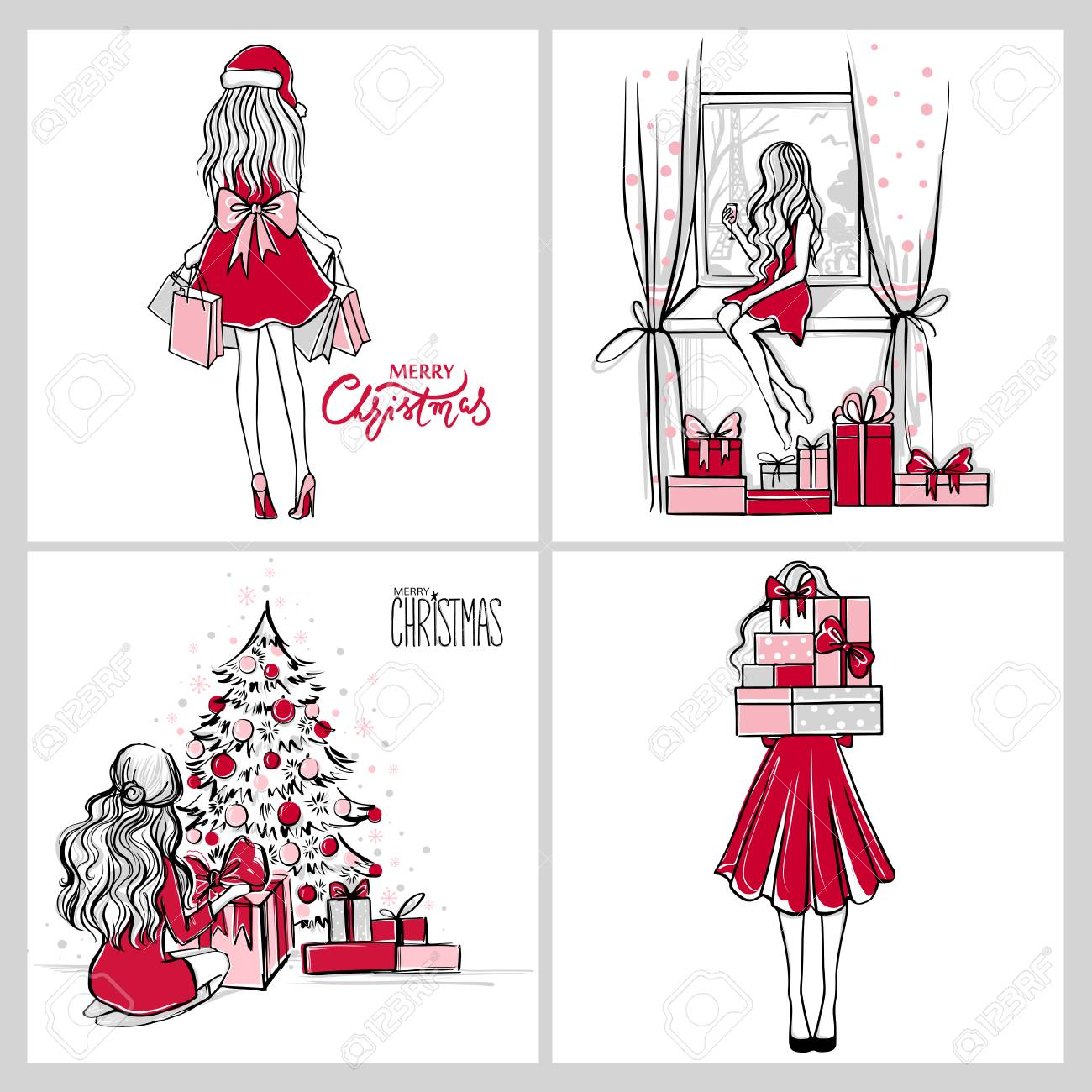 Merry Christmas Illustration.Merry Christmas And Happy New Year Vector Cards Xmas Illustration