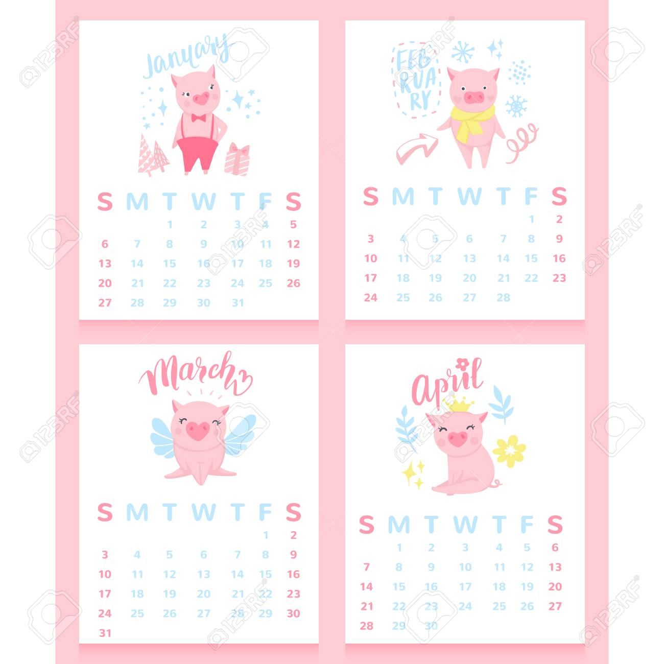 cartoon calendar 2019 with cute pigs january february march april month