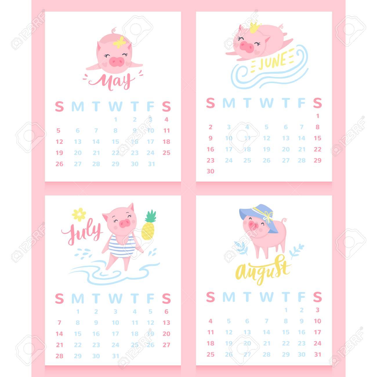 Cartoon Calendar 2019 With Cute Pigs May June July August