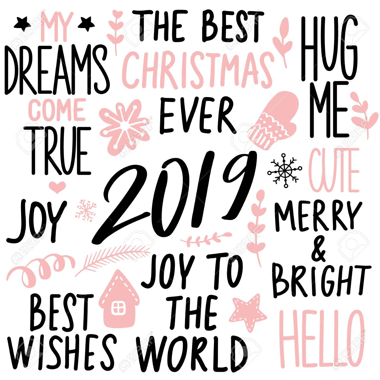 set merry christmas and happy new year vector hand drawn