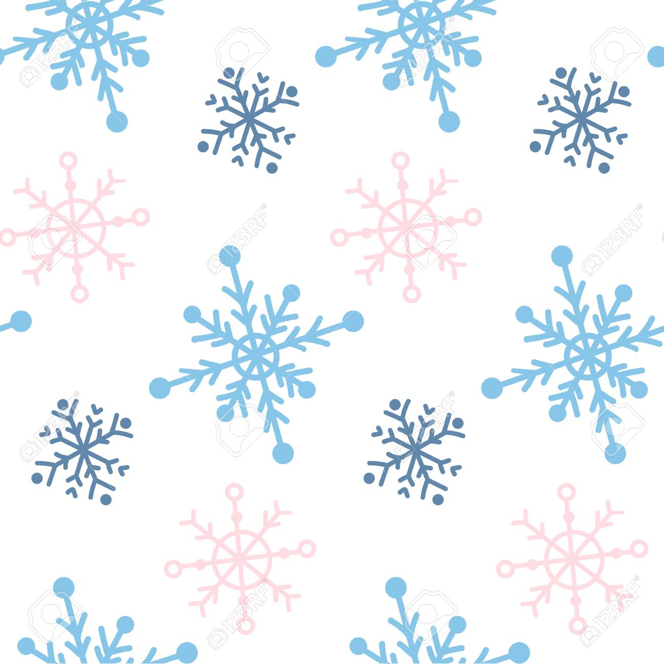 Vector seamless paattern with snowlakes. Hand drawn winter background. - 126739550