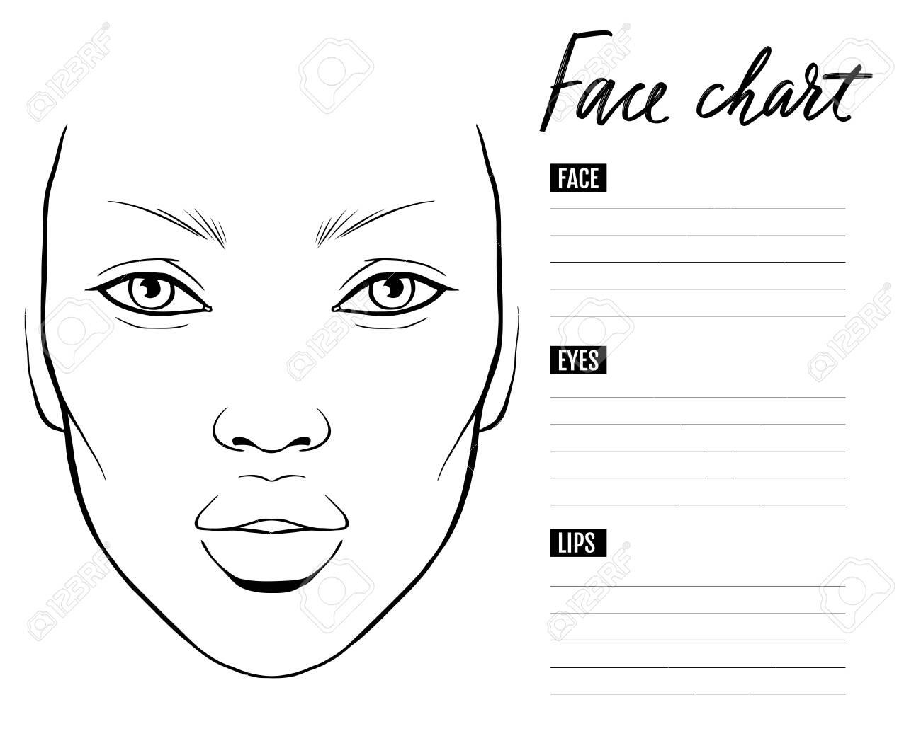 Face chart Blank. Makeup Artist Vector template. - 144723753