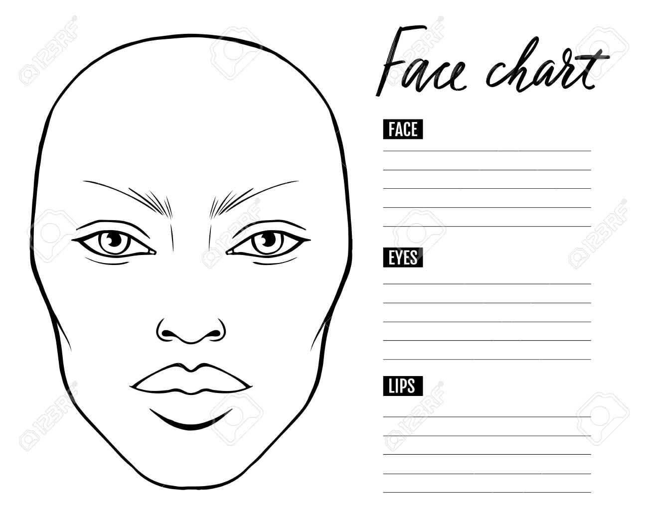Face chart Blank. Makeup Artist Vector template. - 144723751