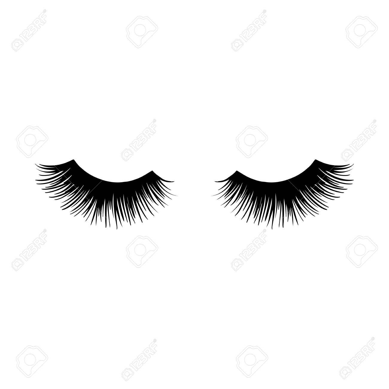 Long black lashes vector illustration. Beautiful Eyelashes isolated on white - 145130121