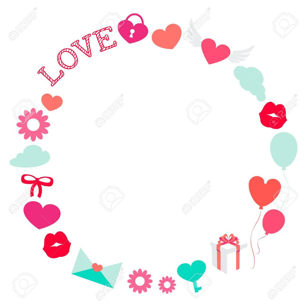 Día De San Valentín Amor Romántico Marco Redondo Ilustración Plana ...