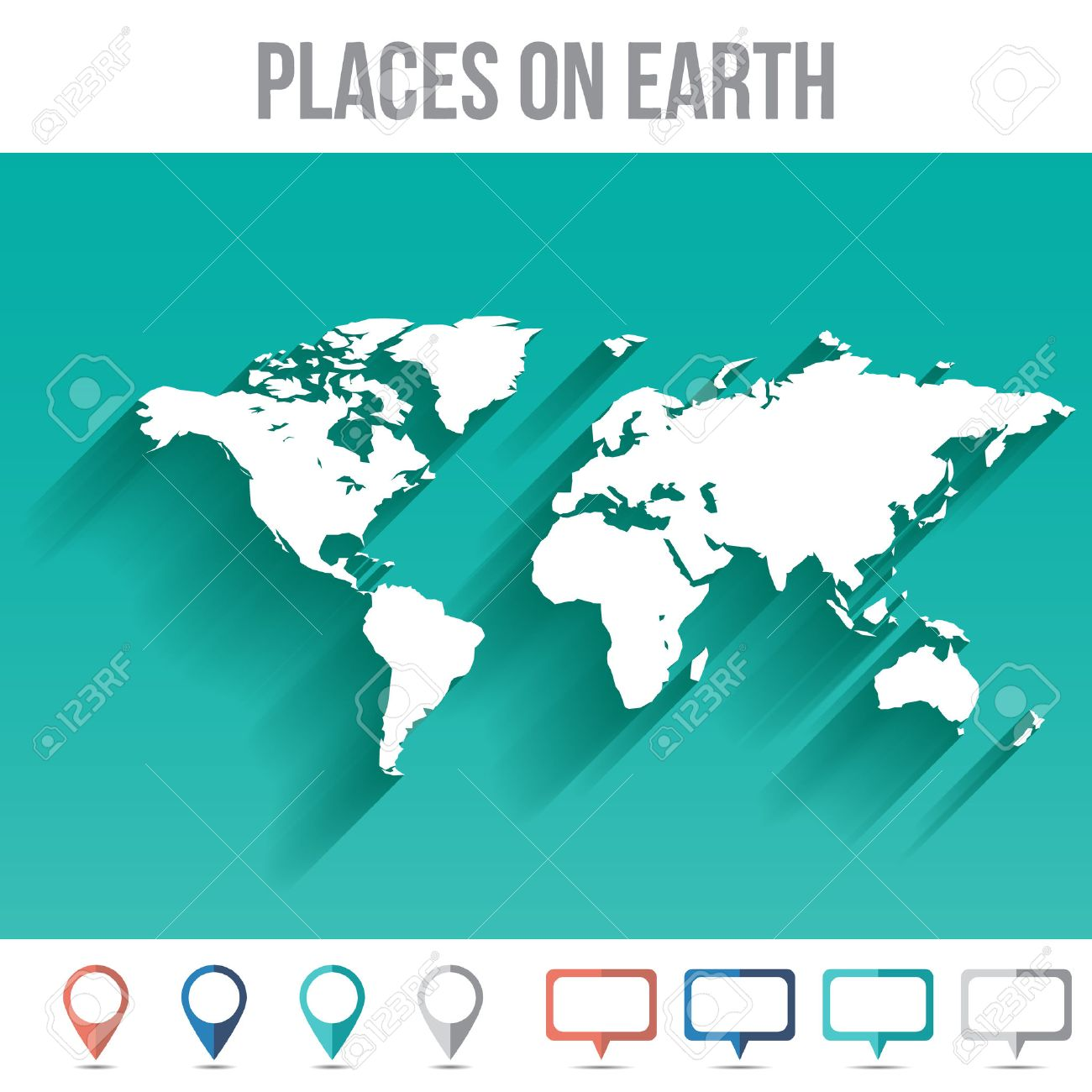 Places on earth world map flat vector illustration for your places on earth world map flat vector illustration for your projects stock vector 36562012 gumiabroncs Image collections