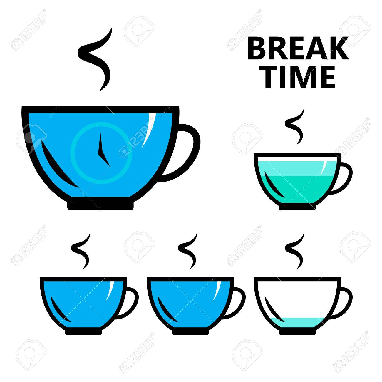 Coffee Tea Break Time Sign Isolated Flat Vector Illustration For Your Projects Stock