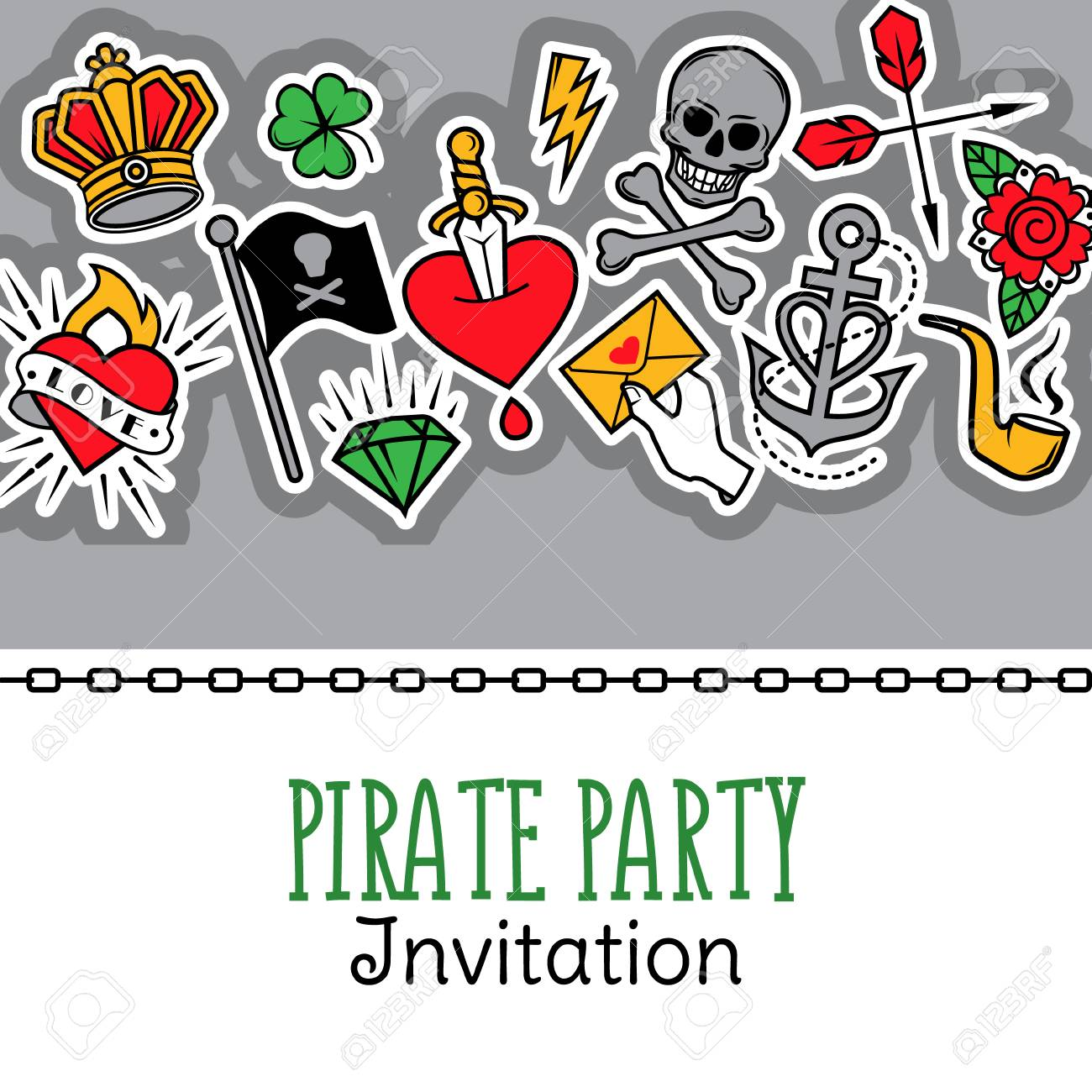 Old school tattoo and pirate life composition vector illustration old school tattoo and pirate life composition vector illustration for pirate party invitation and other stopboris Image collections