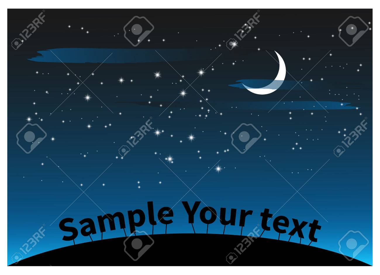 Night landscape with clouds stars and a moon for Halloween design - 51132267
