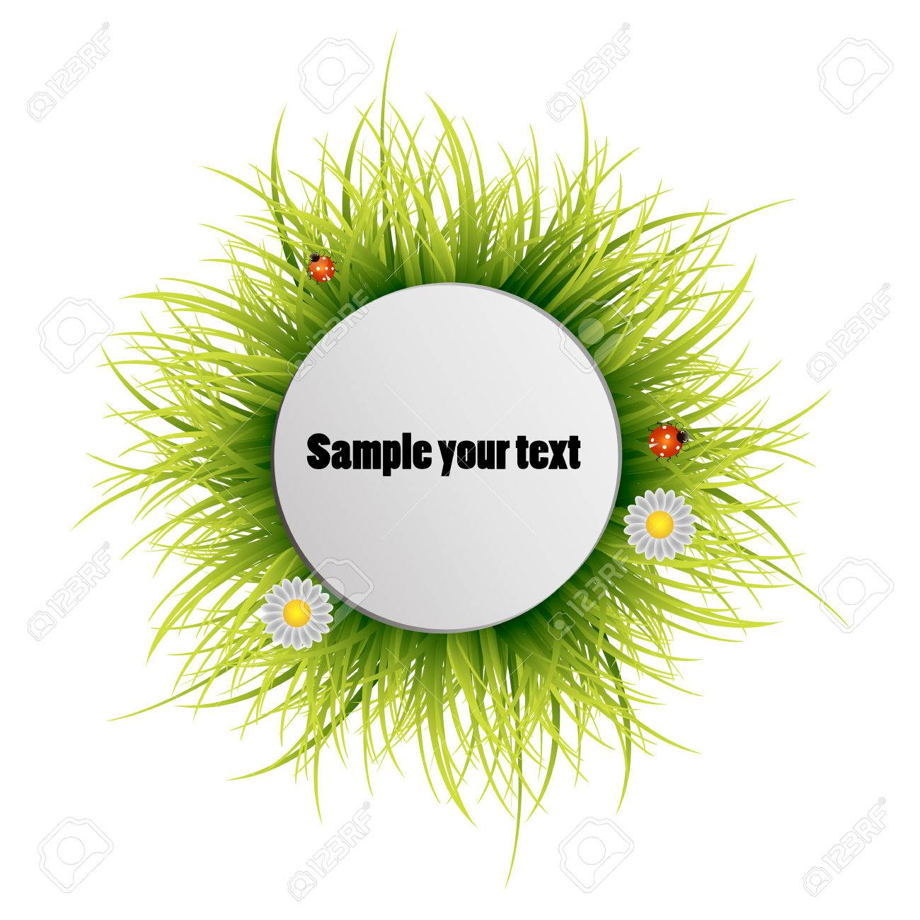 Happy Earth Day. Round frame from a grass on a white background. Vector illustration.Round grass frame. - 61023718