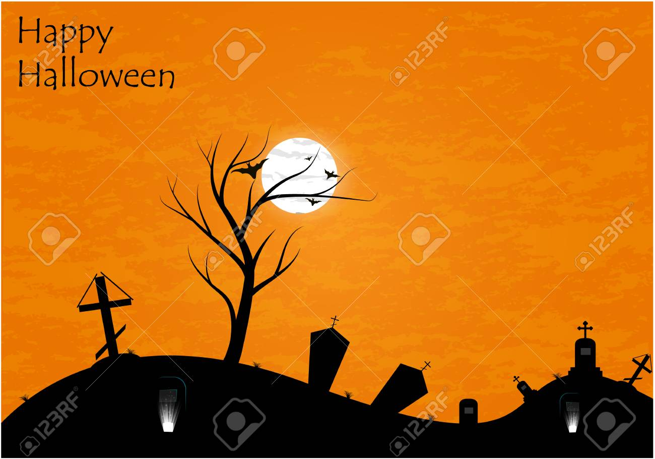 Haunted graveyard in the woods - Halloween greeting card - 61954189