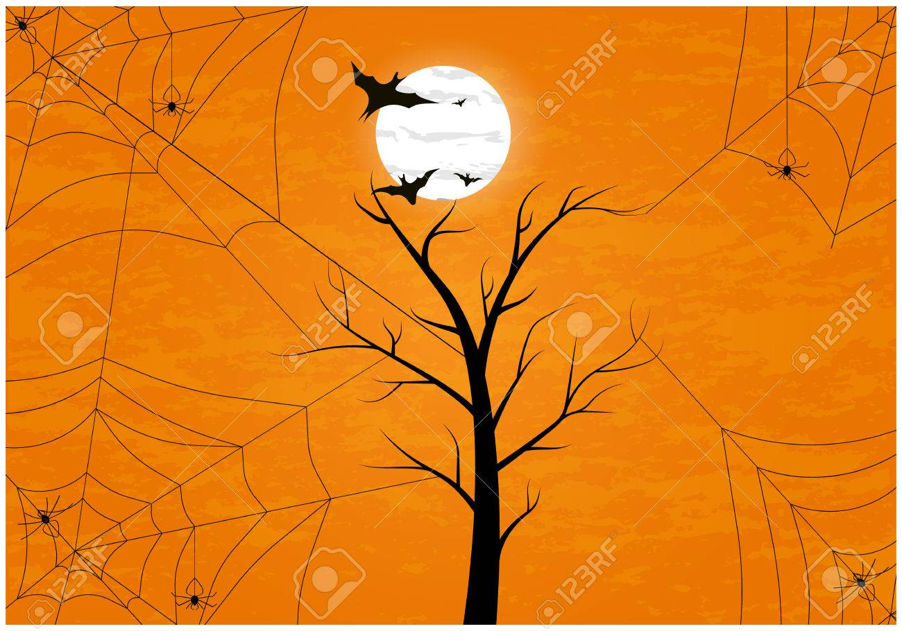 Spooky spider web hanging on tree in curvy style with cheerful background. Blank space at the bottom for design and text. - 61954190