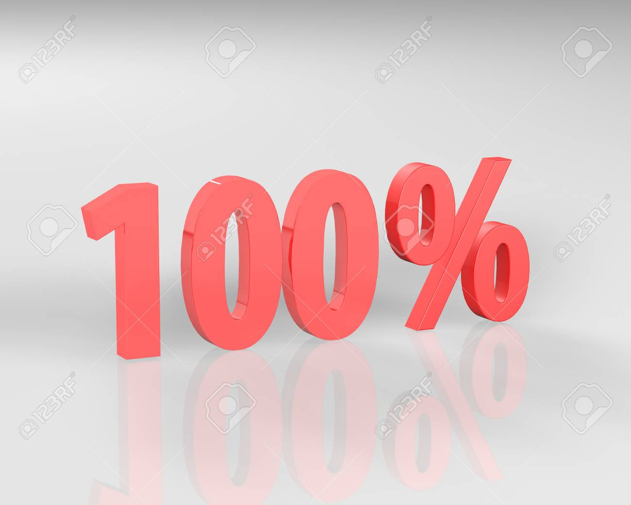 3D rendering of a 100 percent in red letters on a white background - 66024500