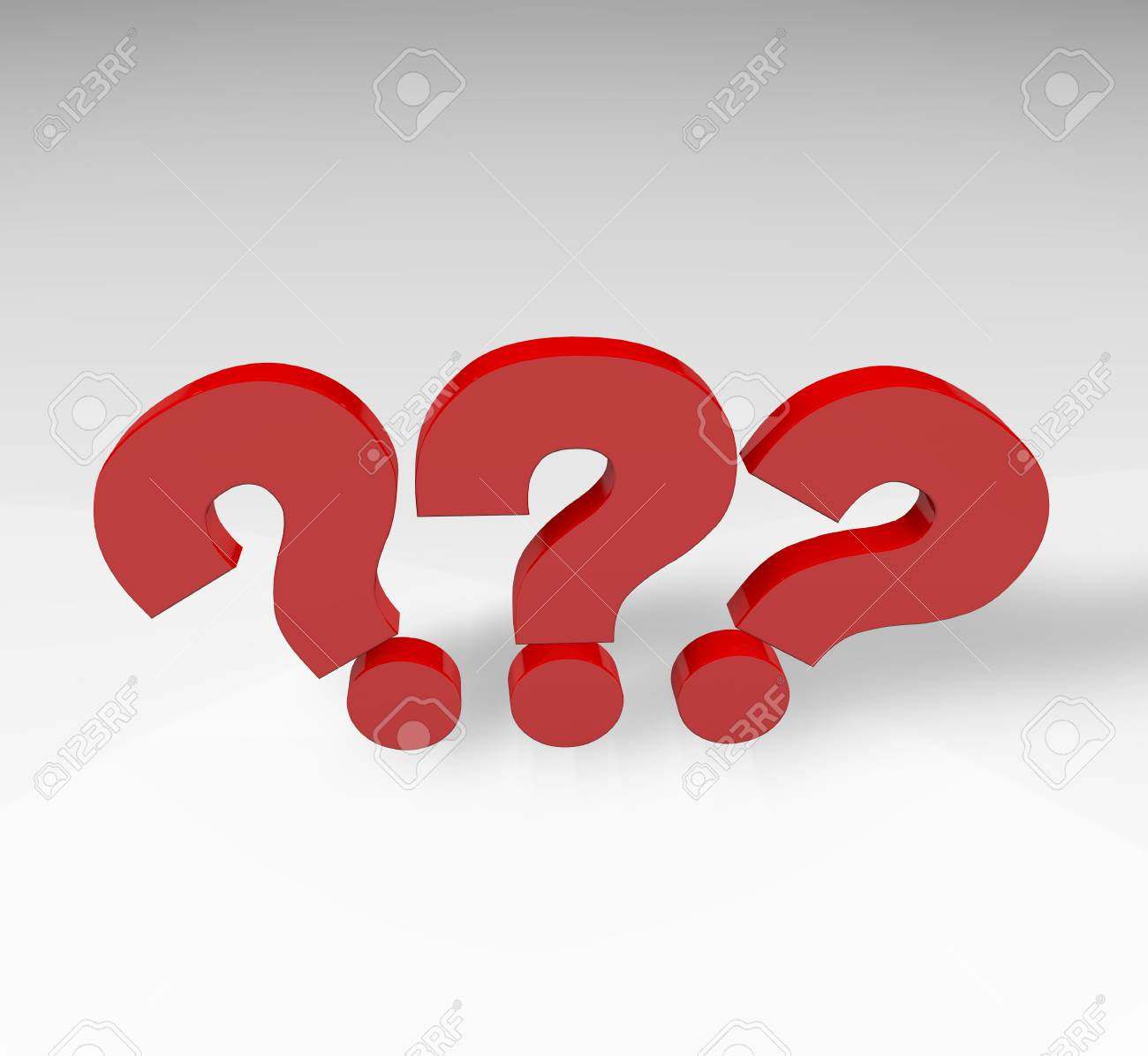Red question mark isolated over white background with reflection and shadow - 66024505