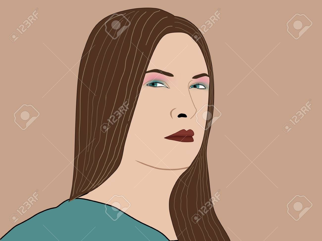 portrait of a pretty girl with long hair Stock Vector - 9372213