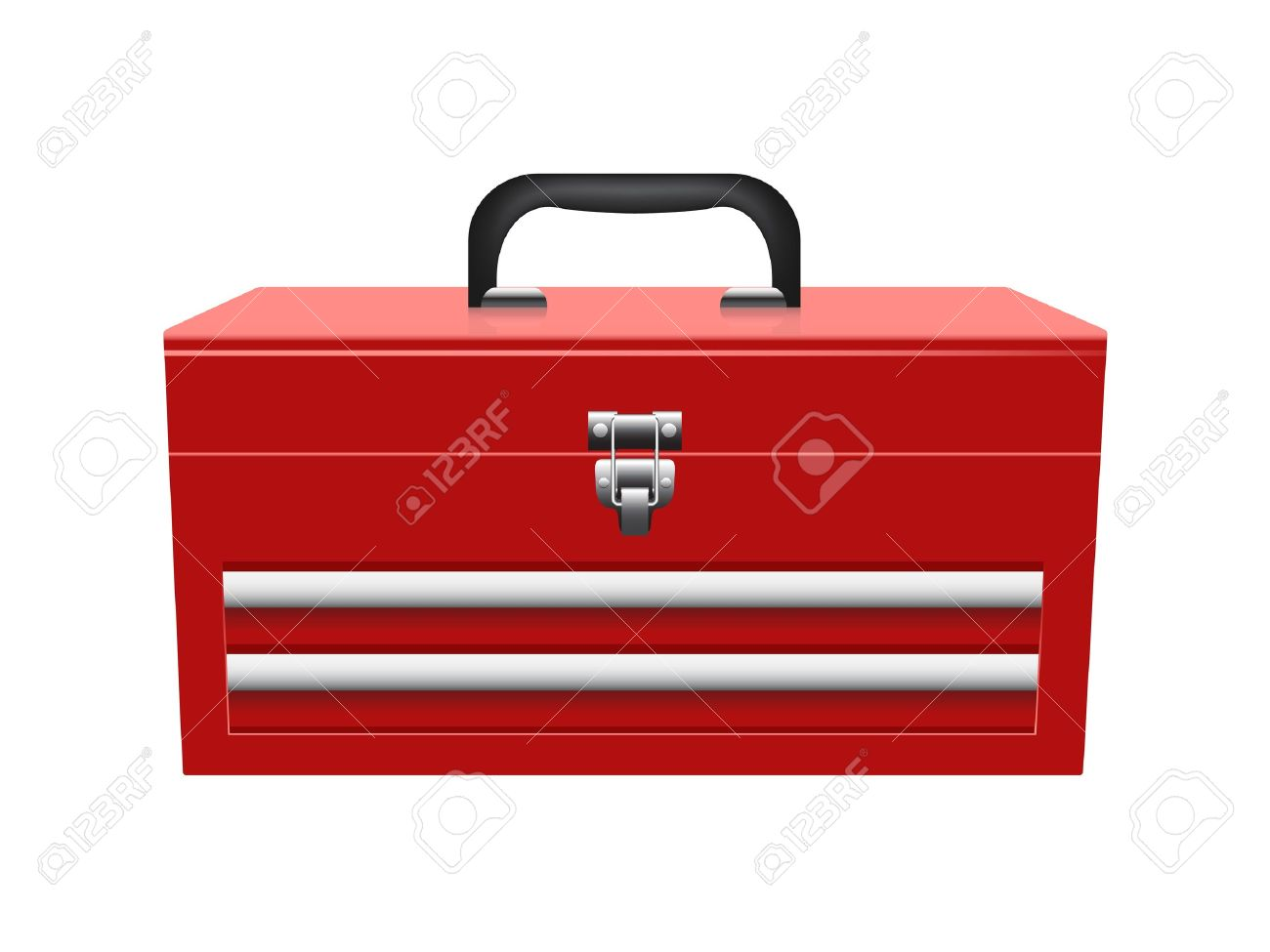 closed red toolbox isolated on white background - 10673582