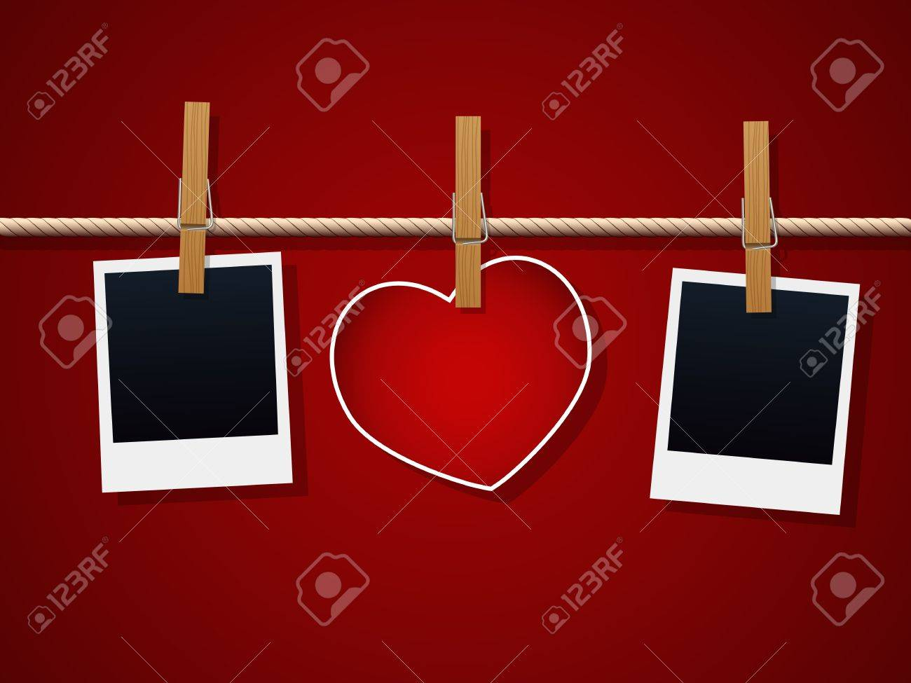 Photo Frames And Heart On Rope - 11916387