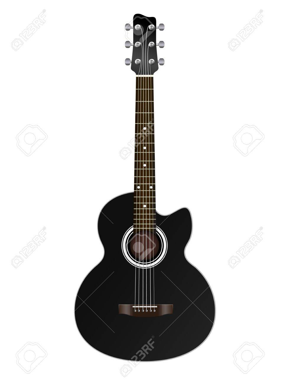 acoustic classic guitar illustration isolated on white background Stock Vector - 15352310