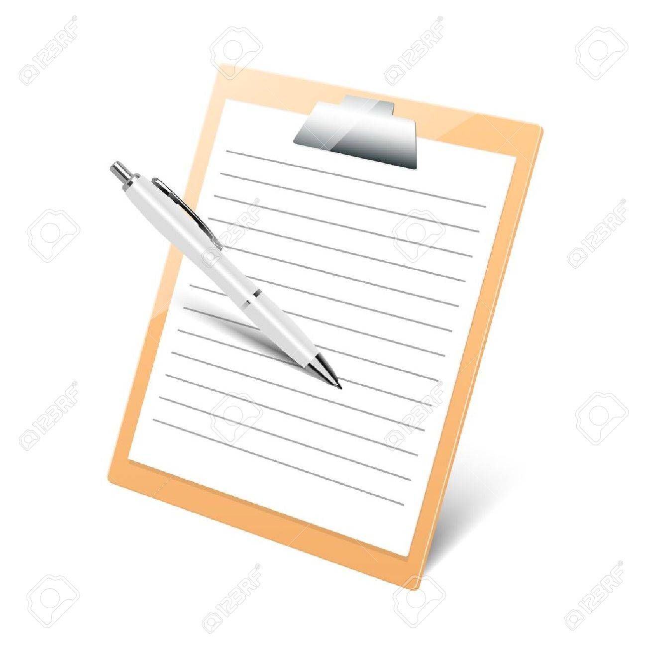 clipboard with pen on white background - 16952901
