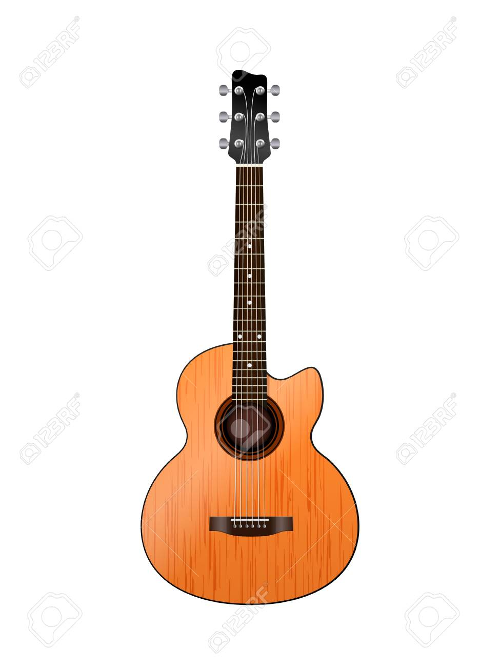 acoustic guitar on a white Stock Vector - 17010380