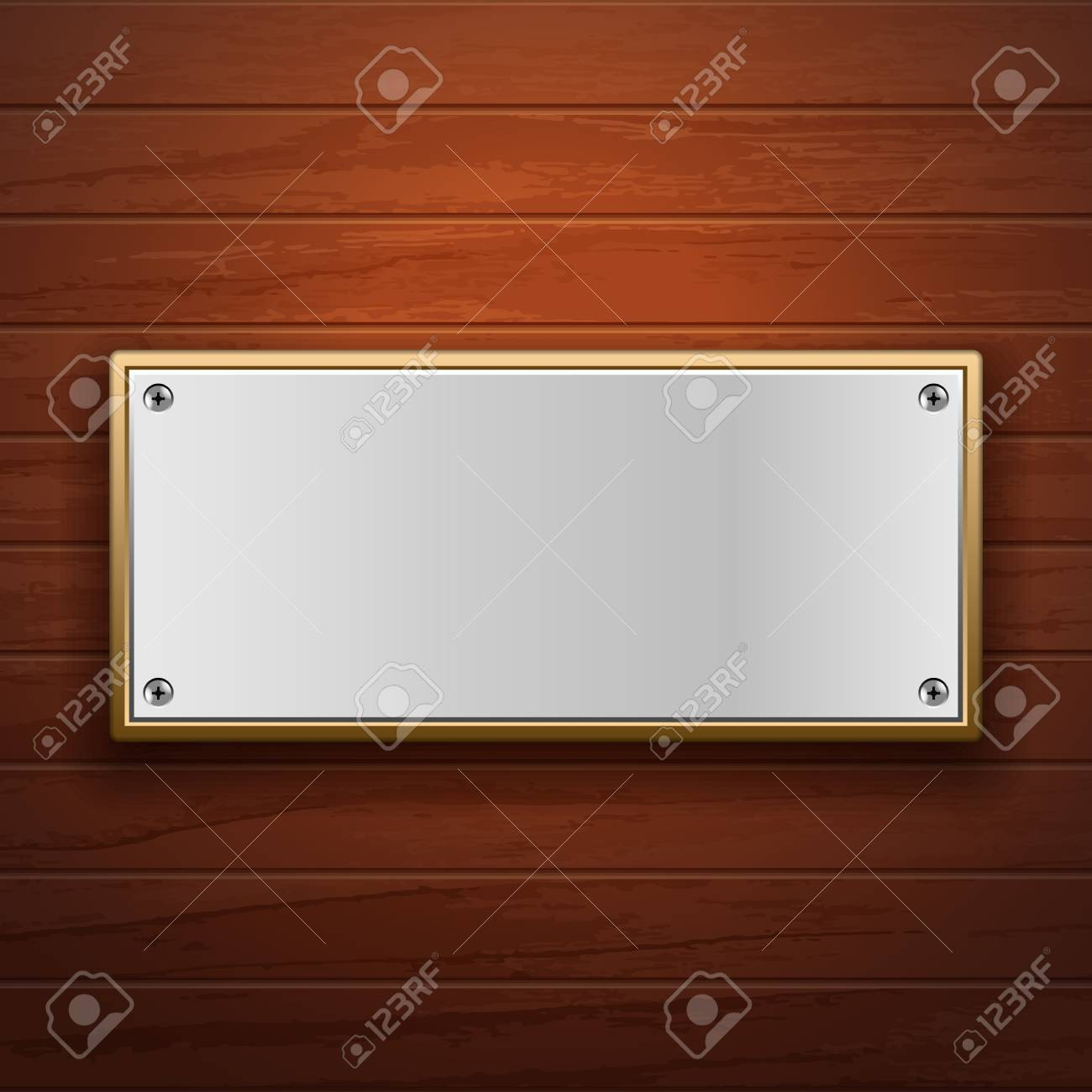 Metal plate on wooden surface - 21433683