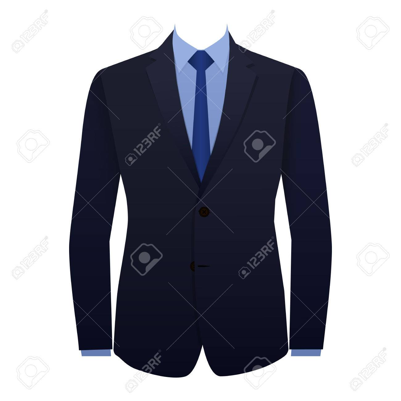 Blue business suit with a tie - 43928554