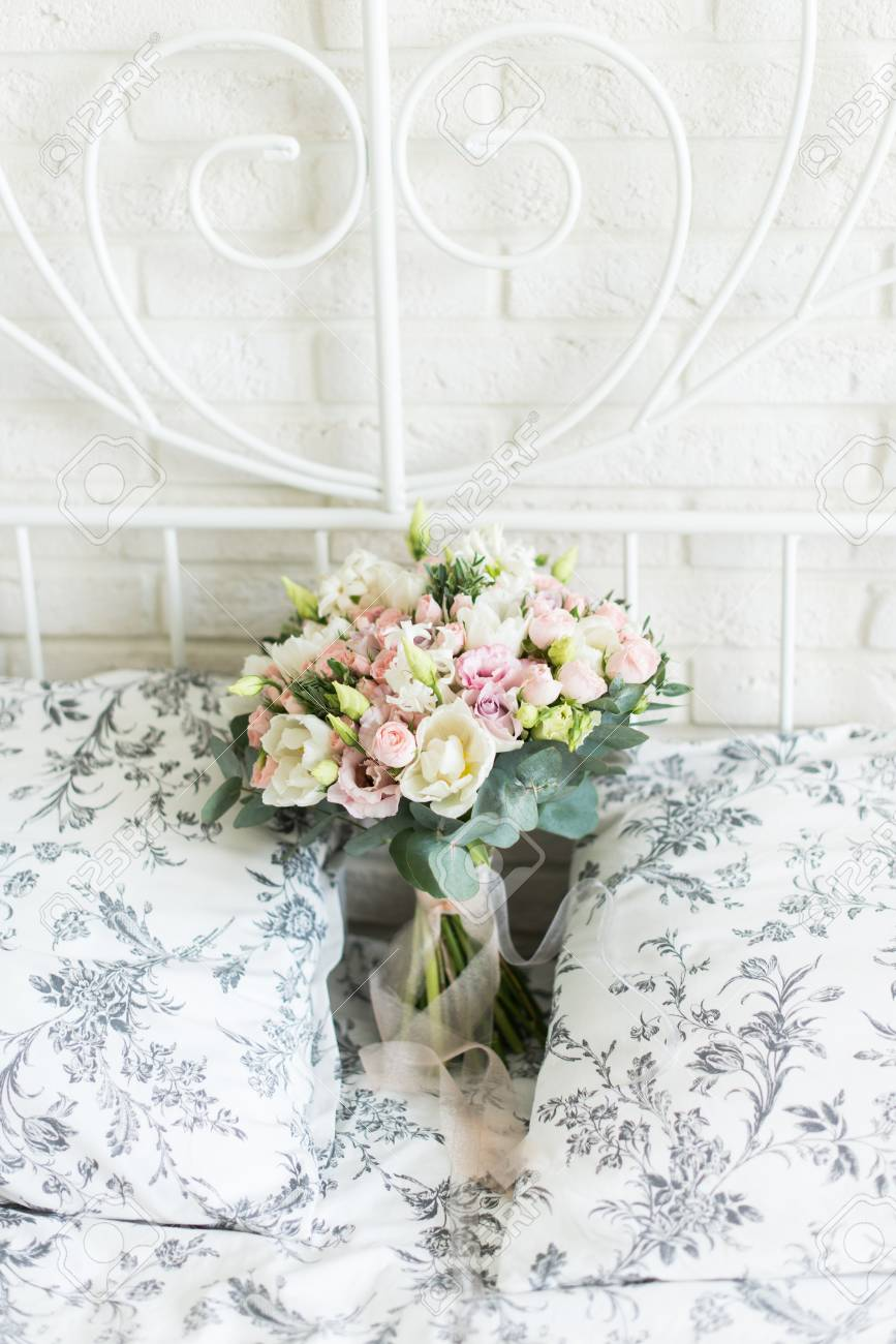 Wedding Bouquet With White And Pink Tulips And Pink Small Roses