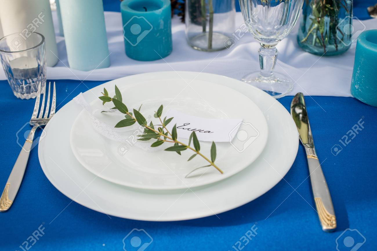 White Plates On The Banquet Table With Guest\'s Name Elena. Wedding ...