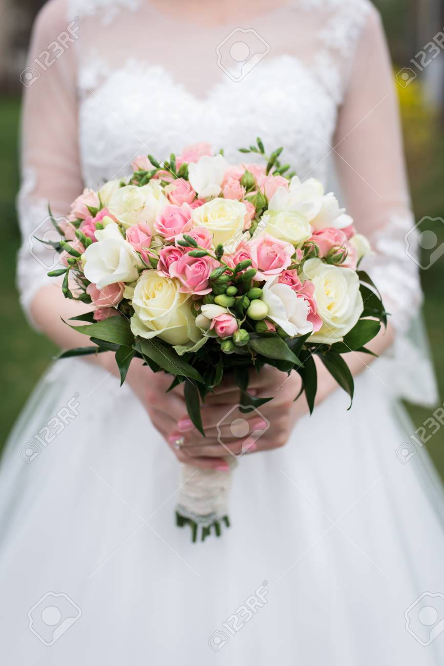 Bridal Bouquet With White And Pink Roses Wedding The Bride Stock