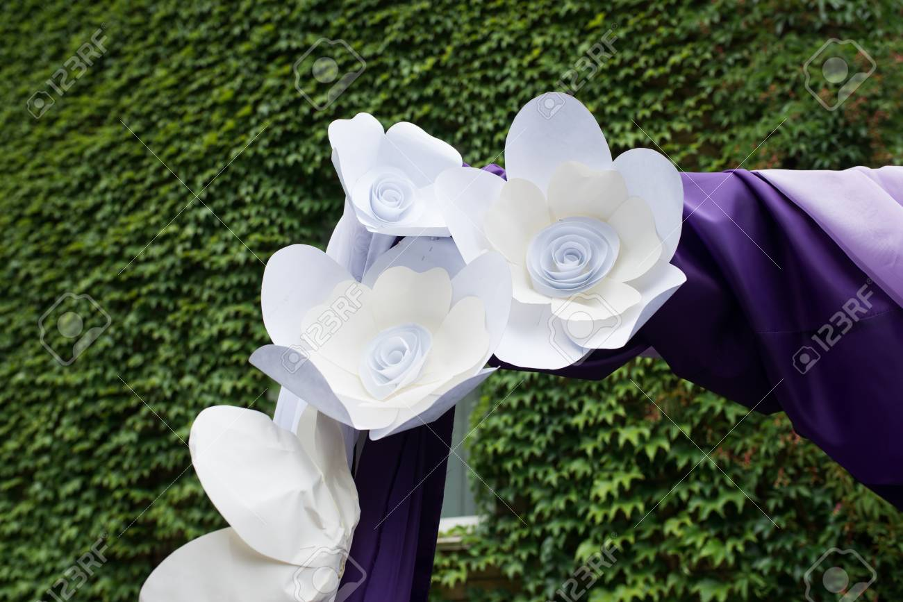 Purple Wedding Arch Decorated With Paper Flowers Lilac And Purple