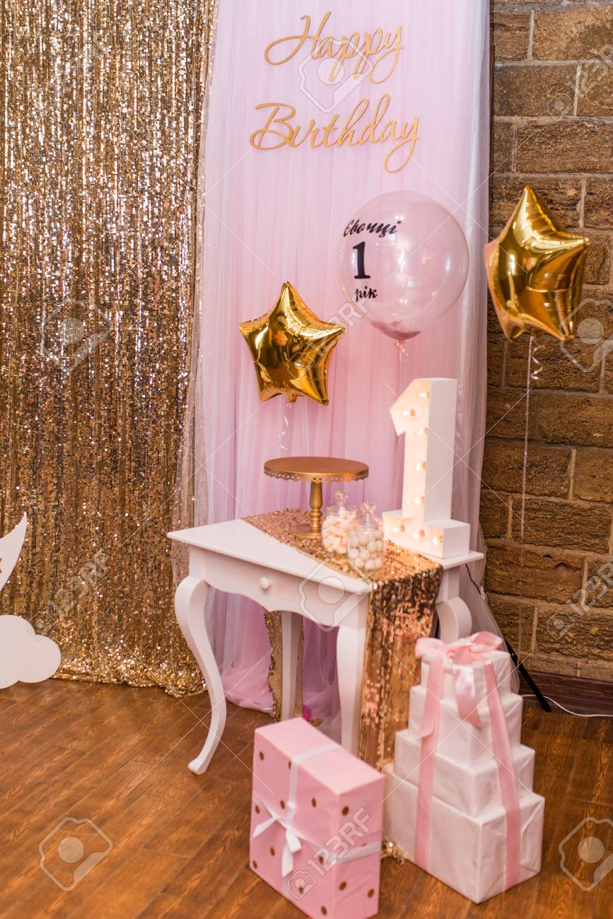 Concept Of Childrens Birthday Party Photo Zone With A Lot Balloons Decorations For One Year Old Girls