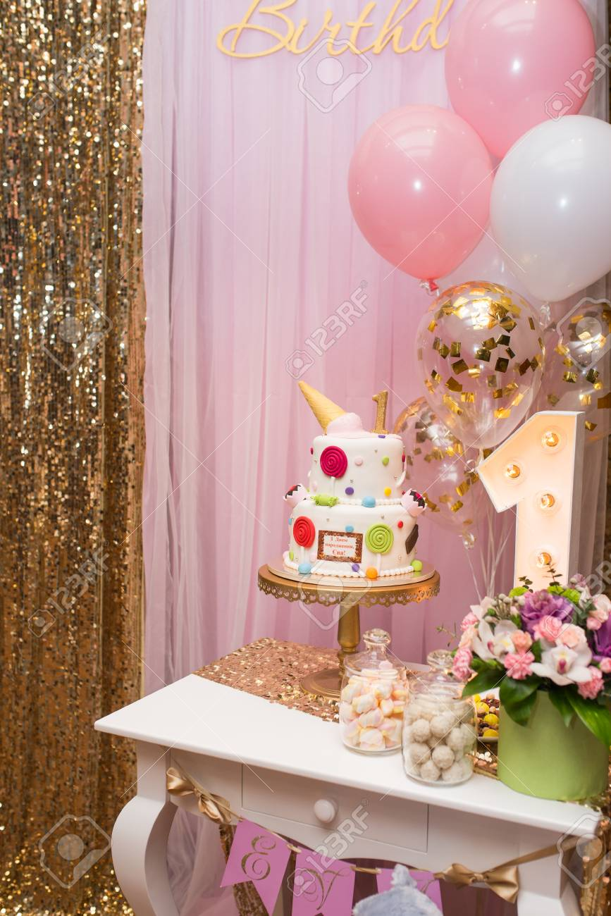 Childrens Photo Zone With Sweets And A Balloons Decorations For One Year Old Girls Birthday Party Concept Of