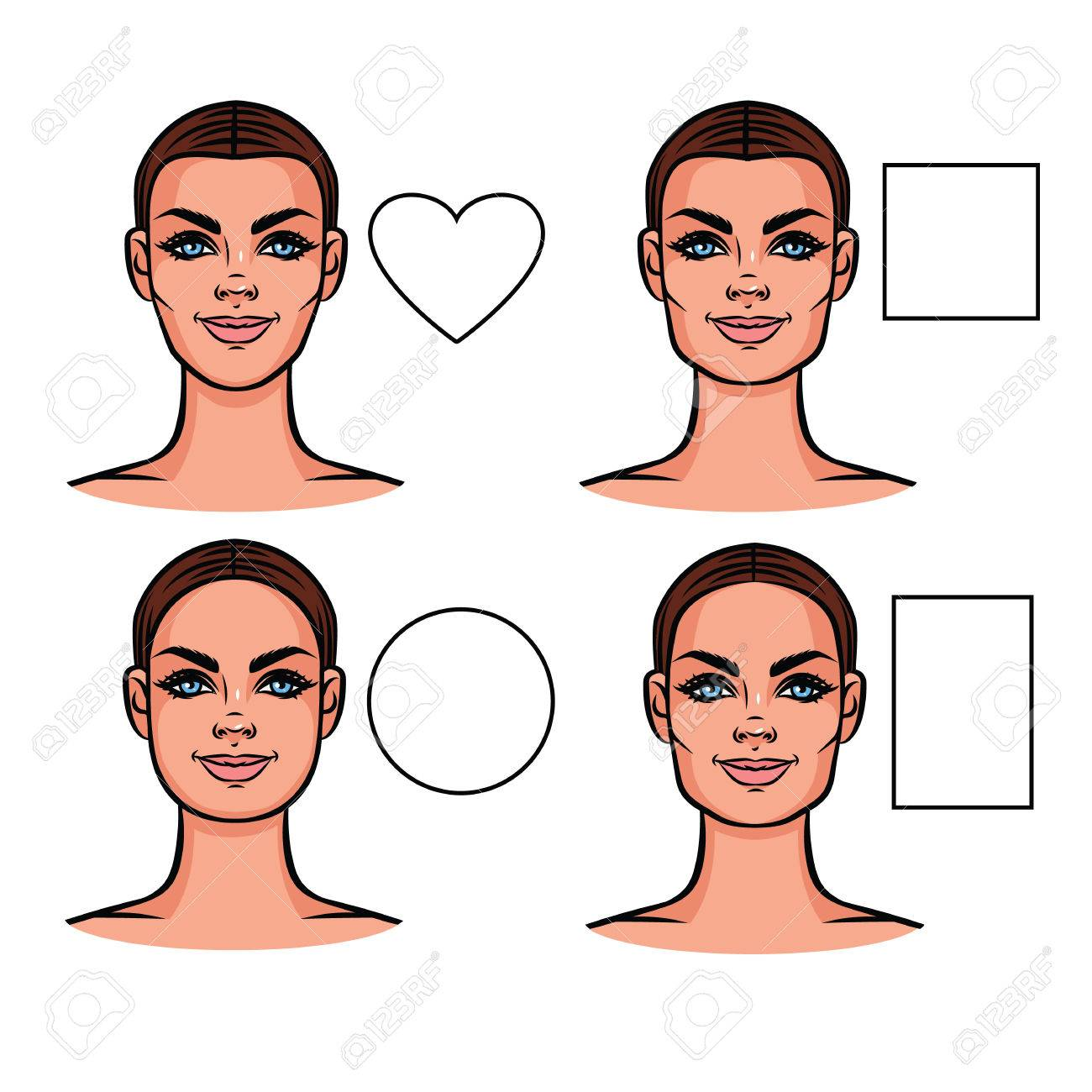 vector illustration of face types female face of various types