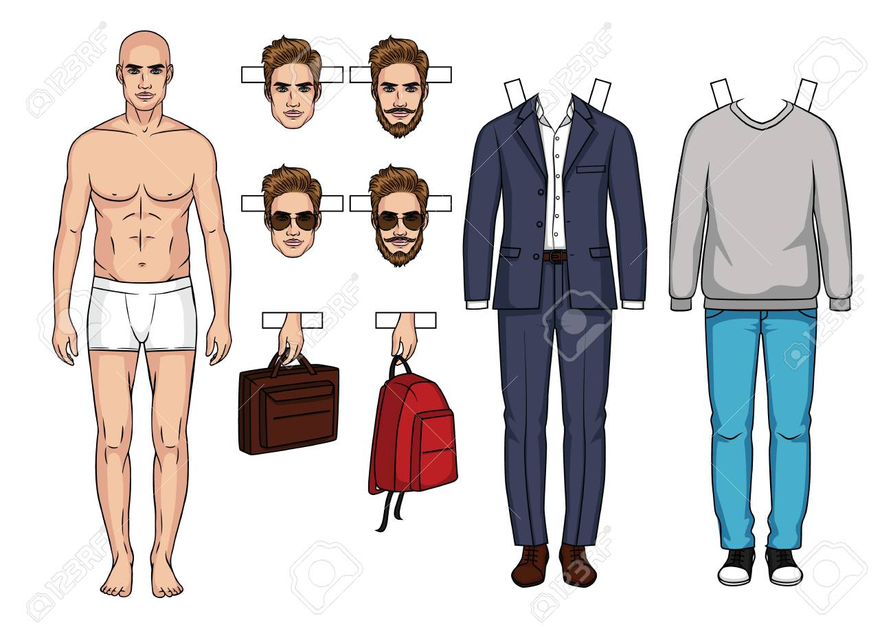 Hand Drawn Mens Paper Doll With Clothes Shoes Bags And Hairstyle Stock Vector