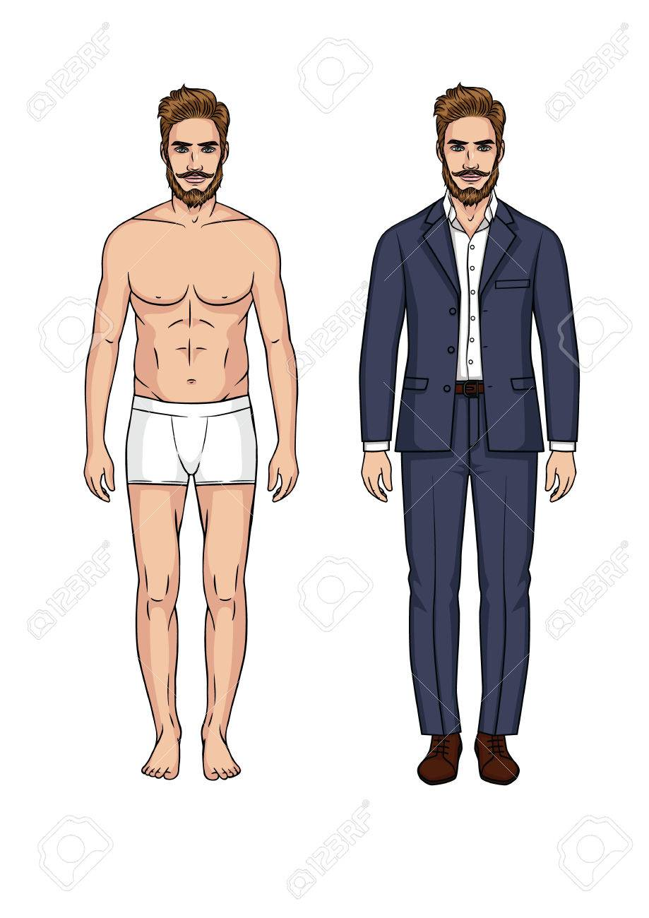 Paper Doll Man In Blue Suit Icon Stock Vector