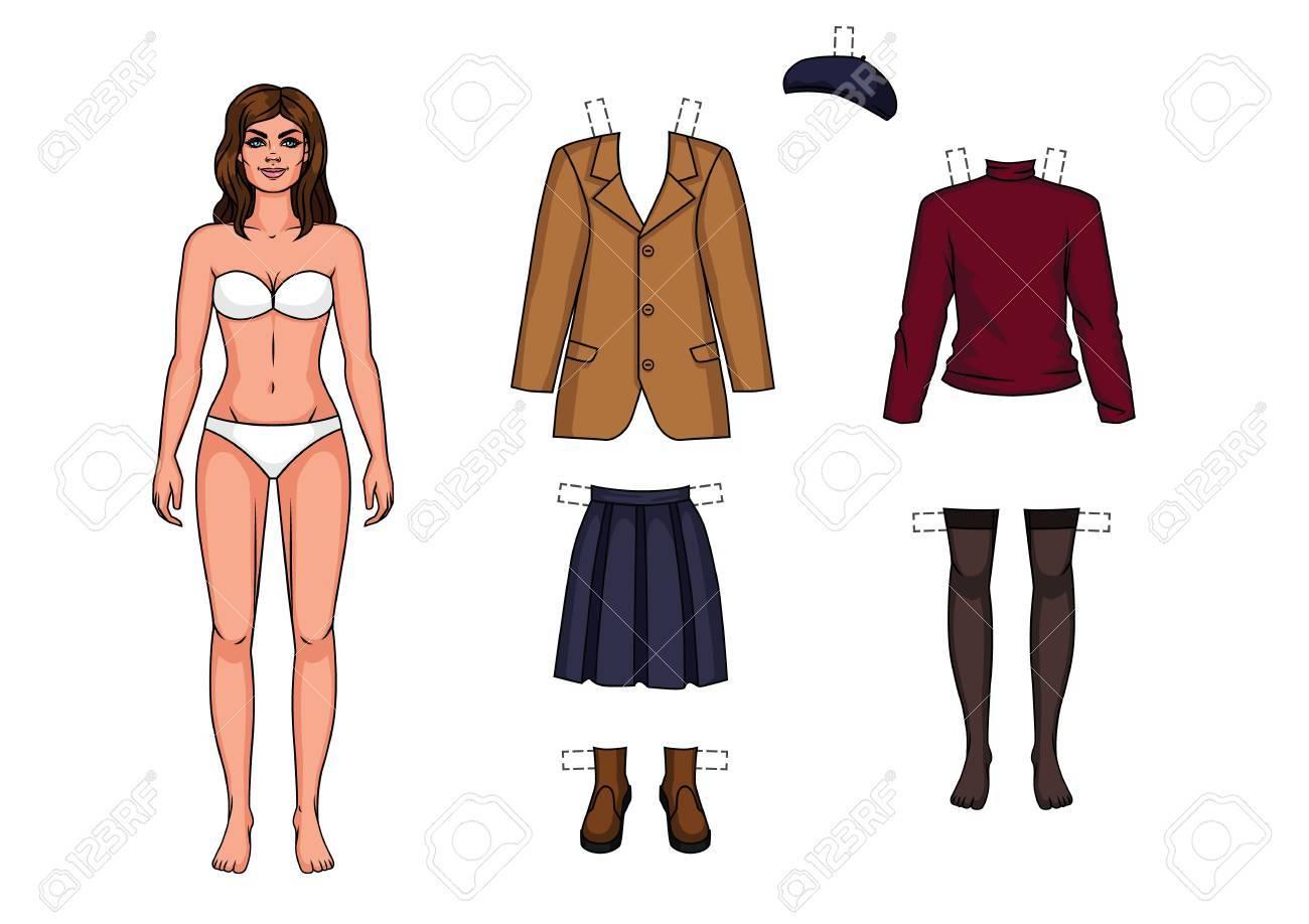 Archivio Fotografico - La ragazza in mutande è in piedi davanti. Bambola di  carta e un set di vestiti caldi per lei 46384432a10