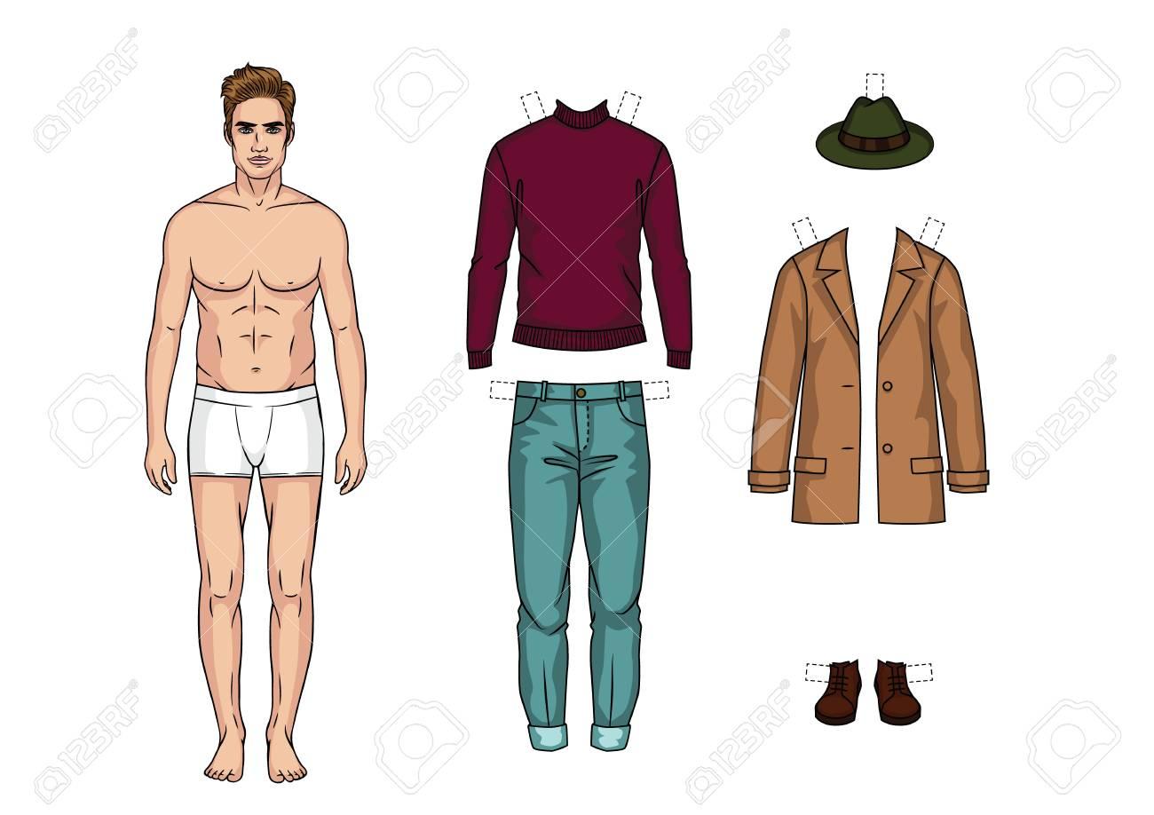 Archivio Fotografico - Il ragazzo in mutande è in piedi davanti. Bambola di  carta di un uomo. Set di abiti casual invernali caldi per uomo d7f3d0a55df