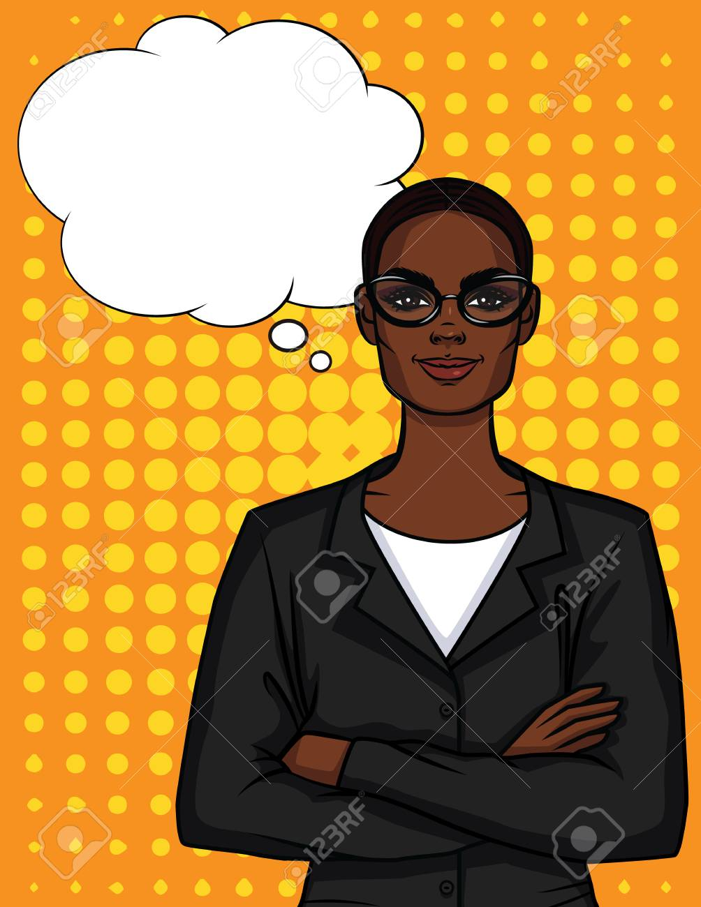 Vector Colorful Illustration Of African American Businesswoman