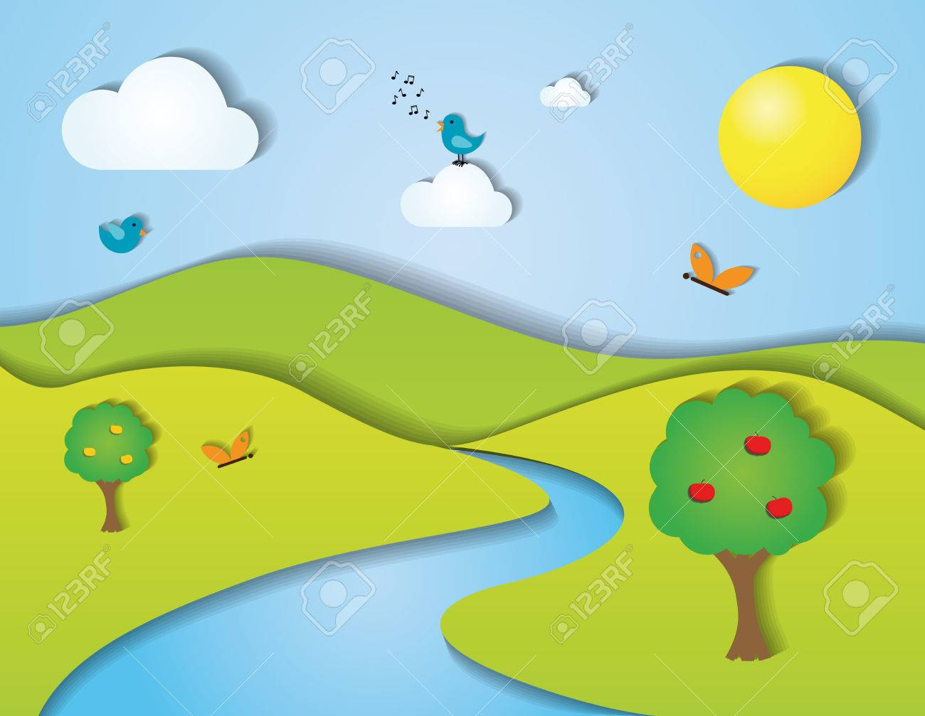 Stylized green summer landscape with trees, clouds, birds, butterflies, flowers and mountains Stock Vector - 28465957