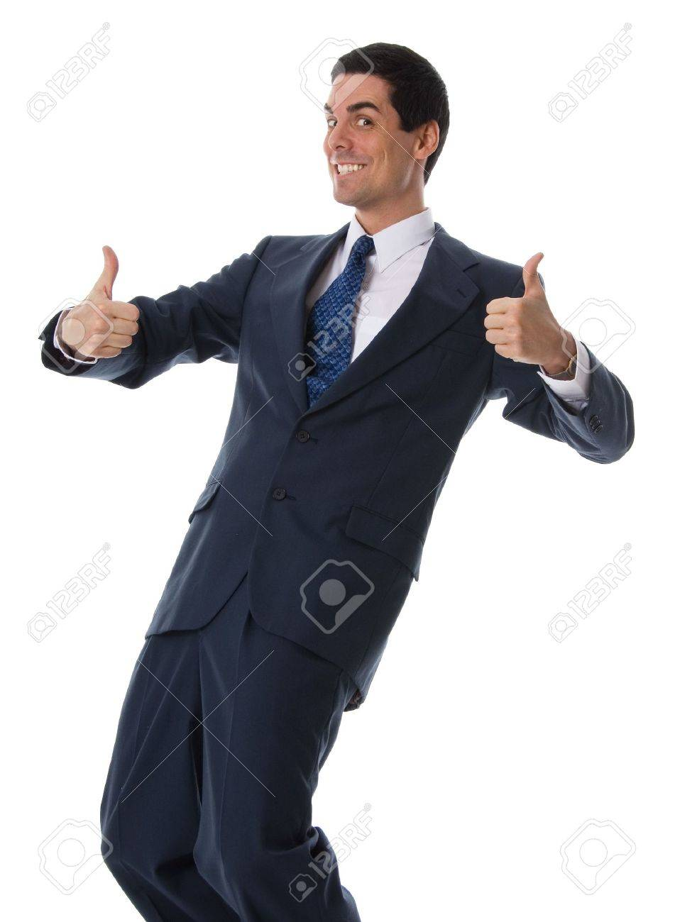 2 thumbs up man in a blue suit